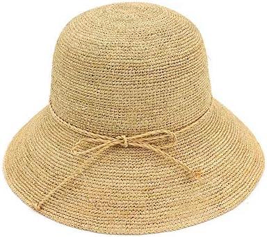 100%ラフィア女性夏麦わらバケツ帽子折りたたみ麦わら帽子ビーチ帽子Sunhat ビーチ帽子 (色 : Light Khaki, サイズ : 56-58CM)