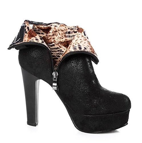 Aisun Womens Fashion Tacco Tacco Laterale Con Cerniera Sul Plateau Lace Up Chunky Tacco Alto Stivaletti Scarpe Nere