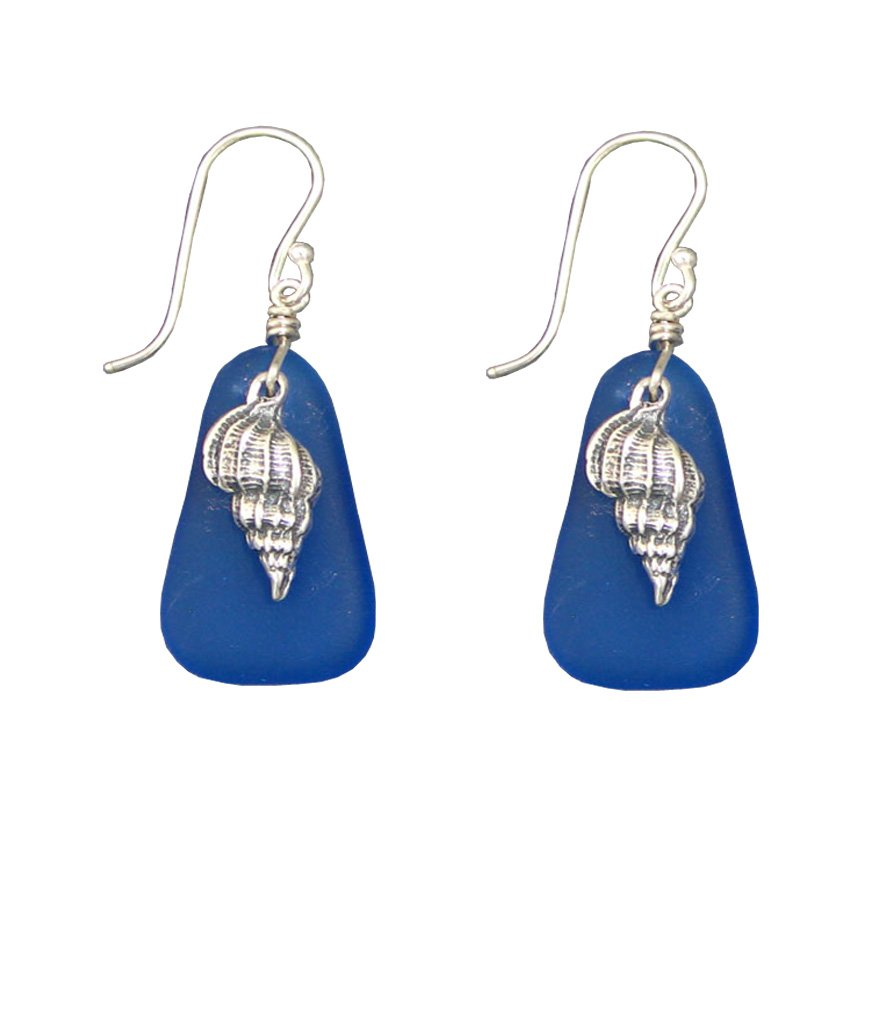 Beach Glass and Sterling Silver Seashell Earrings