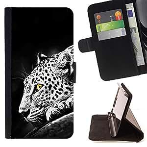 BullDog Case - FOR/Samsung Galaxy S6 EDGE / - / leopard spots dots yellow eyes black white /- Monedero de cuero de la PU Llevar cubierta de la caja con el ID Credit Card Slots Flip funda de cuer