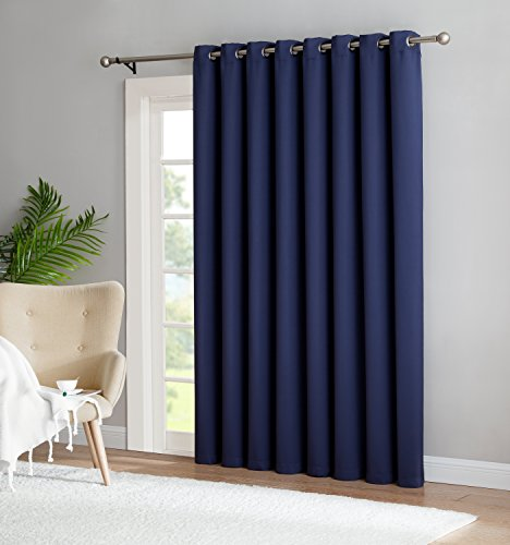 Nicole - 1 Patio Extra Wide Premium Thermal Insulated Blackout Curtain Panel - 16 Grommets - 102 Inch Wide - 84 Inch Long - Ideal for Sliding and Patio Doors (1 Panel 102x84, Navy)