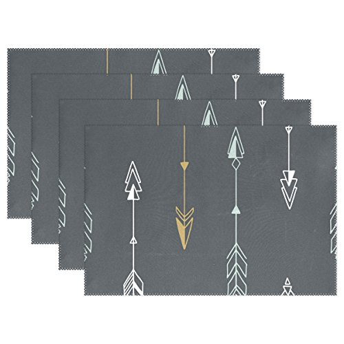 ALAZA Geometric Tribal Arrows Placemats Heat-resistant Washable Table Mats 12 X 18 Inch Placemats for Family Kitchen Hotel Coffee Shop Dinning Restaurant, Set of 6 by ALAZA