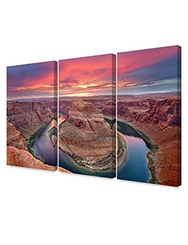 DECORARTS - Horseshoe Bend, Grand Canyon, Arizona(Triptych). Giclee Canvas Prints for Wall Decor. 48x32 (Canvas Print Art Deco)