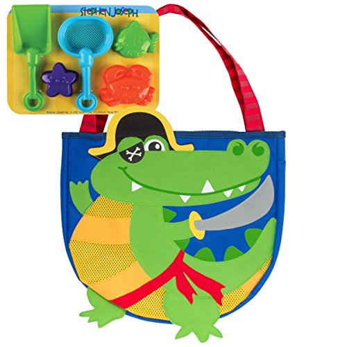 Stephen Joseph Beach Totes with Sand Toy Play Set Alligator/Pirate Swimming Pool Basketball Toys, Blue (Kid Pirate Tote)