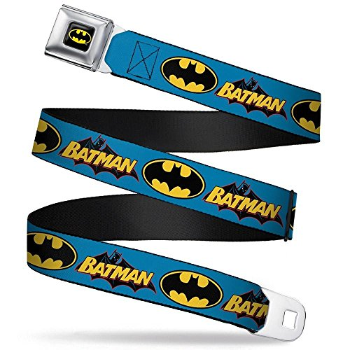 Batman Logo Belt Buckle - Buckle-Down Seatbelt Belt - Vintage Batman Logo & Bat Signal Blue - 1.5