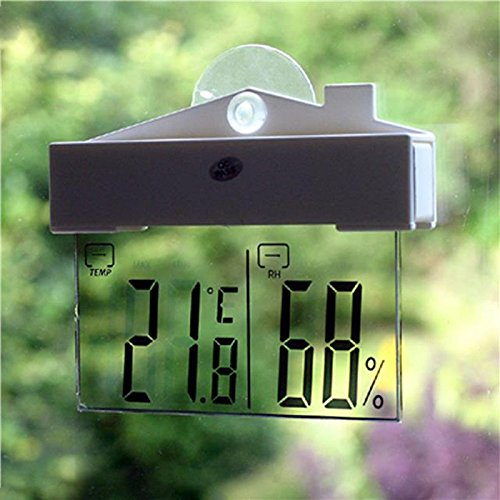 ZHCHL Digital Window Thermometer Hydrometer Indoor Outdoor Weather Station Suction (Color White) by ZHCHL
