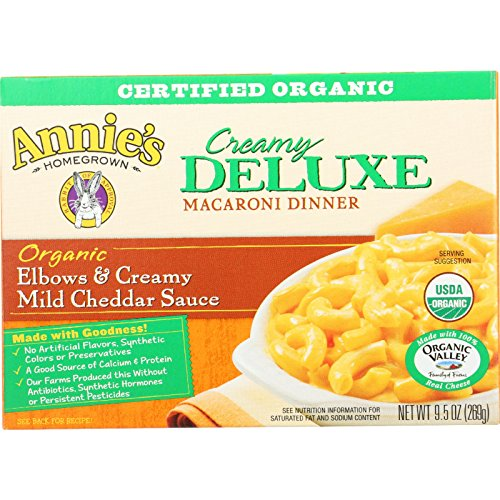 Annies Homegrown Macaroni Dinner - Organic - Creamy Deluxe - Elbows and Creamy Mild Cheddar Sauce - 9.5 oz - case of 12 - 95%+ Organic - - - - - Creamy Deluxe Elbows