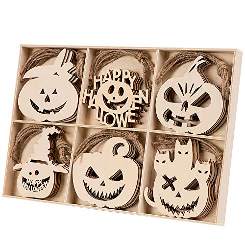 Wooden Halloween Crafts (MACTING Wooden Hanging Ornaments, 30PCS Hanging Halloween Decorations Pumpkin Embellishments Hanging Decoration, Cutouts Wood Crafts Slices with Hemp Ropes for Halloween Party)