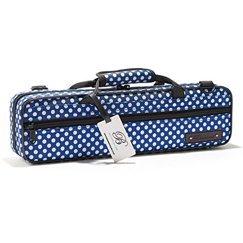 Flute Case - Beaumont C-Foot Flute Cover - Lightweight Canvas - Blue Polka Dot Design