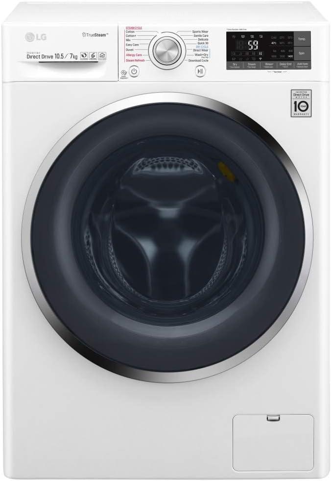 LG F4J8JH2WD lavadora Carga frontal Independiente Azul, Blanco A - Lavadora-secadora (Carga frontal, Independiente, Azul, Blanco, Izquierda, Giratorio, Tocar, LED)