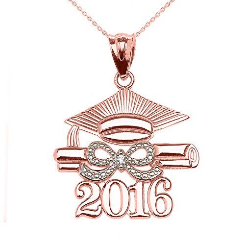 Collier Femme Pendentif 10 Ct Or Rose Classe De 2016 Graduation Casquette avec Diamant (Livré avec une 45cm Chaîne)
