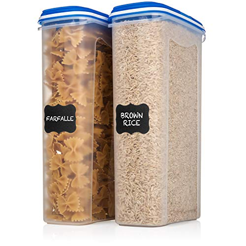2 Large Shazo Food Storage Containers - 2.5L / 84 Oz - Airtight Cereal/Dry Food Storage Containers with Innovative Dual Utility Interchangeable Lid, FREE Labels & Marker, One Lid Fits All (Best Dry Food Storage Containers)