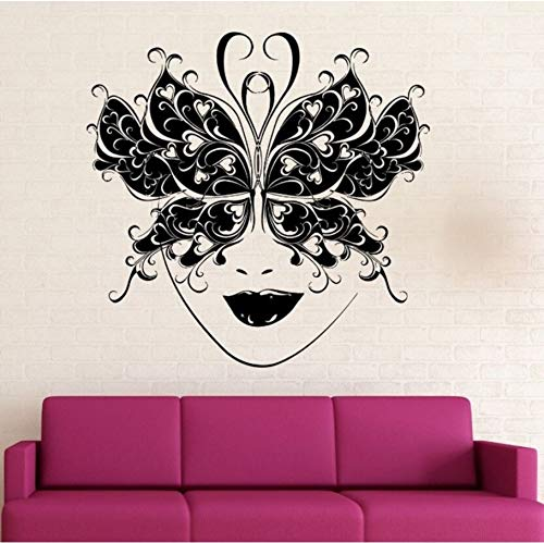 Wall Stickers Mural Muraux Vinyl Removable Masquerade Ball Mask Wall Decal Butterfly Mask Decor Art Mural Party Finished Size 57X56Cm