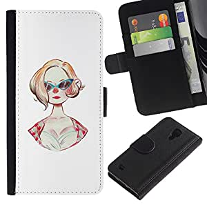 ZCell / Samsung Galaxy S4 IV I9500 / Sunglasses 50S Fashion Hairstyle Pin Up Dress / Caso Shell Armor Funda Case Cover Wallet / Gafas de sol 50S