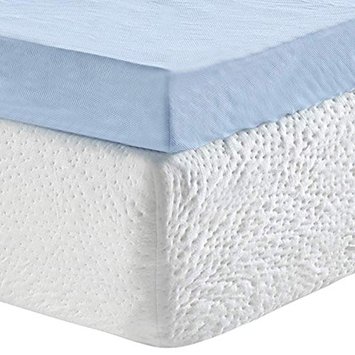 Classic Brands 3-Inch Cool Cloud Gel Memory Foam Mattress Topper With Free Cover, Queen (Renewed)
