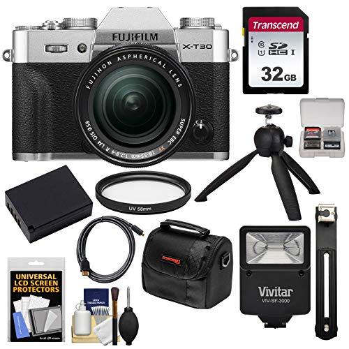 Fujifilm X-T30 Wi-Fi Digital Camera & 18-55mm XF Lens (Silver) with 32GB Card + Battery + Tripod + Flash + Case + Kit