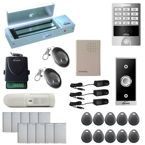 Visionis FPC-5634 One Door Access Control Outswinging Door 1200lbs Maglock with VIS-3004 Outdoor Weatherproof Metal Touch Keypad/Reader Standalone No Software 2000 Users with Wireless Receiver PIR Kit
