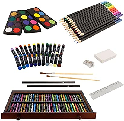 Art Kit for Kids Teens and Adults//Gift Wooden Box Set for Drawing Acrylic Pastels Brushes Sketching Painting Conda 19 pcs Drawing and Sketching Art Set Colored Pencils