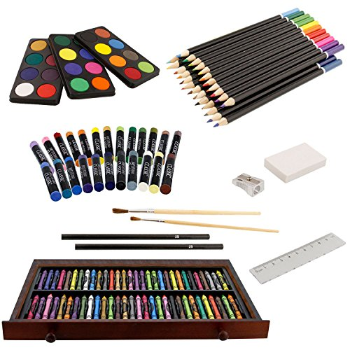 US Art Supply 163 Piece-Premium Mega Wood Box Art, Painting & Drawing Set That Contains All The Additional Supplies You Need to get Started and The Bonus Wooden Drawing Easel with Drawer. by US Art Supply (Image #1)