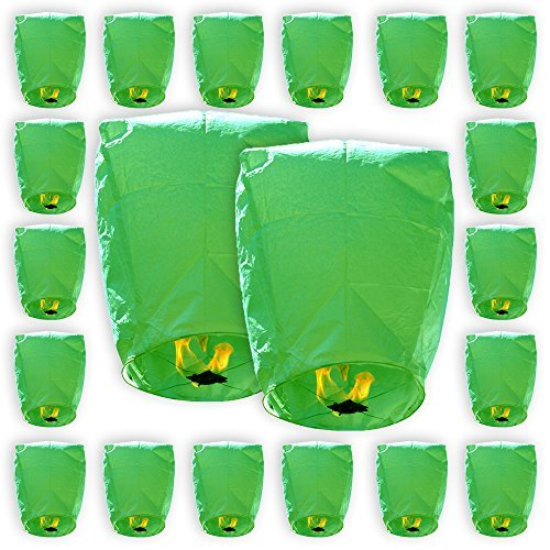 Just Artifacts MINI Eco-Wire Free Biodegradable Eclipse Floating Sky Lanterns (Set of 20, Green)