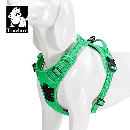 (TRUE LOVE Adjustable No-Pull Dog Harness Reflective Pup Vest Harnesses Comfortable Control Brilliant Colors Truelove TLH5651(Grass Green,M))