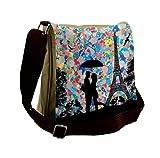 Lunarable City Love Messenger Bag, Loving Couple Umbrella, Unisex Cross-body