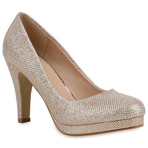 Stiefelparadies Damen Glitzer Pumps Plateaupumps Stiletto High Heels Velours Peeptoes Leder-Optik Plateau Vorne Party Schuhe Flandell Gold Glitzer Arriate