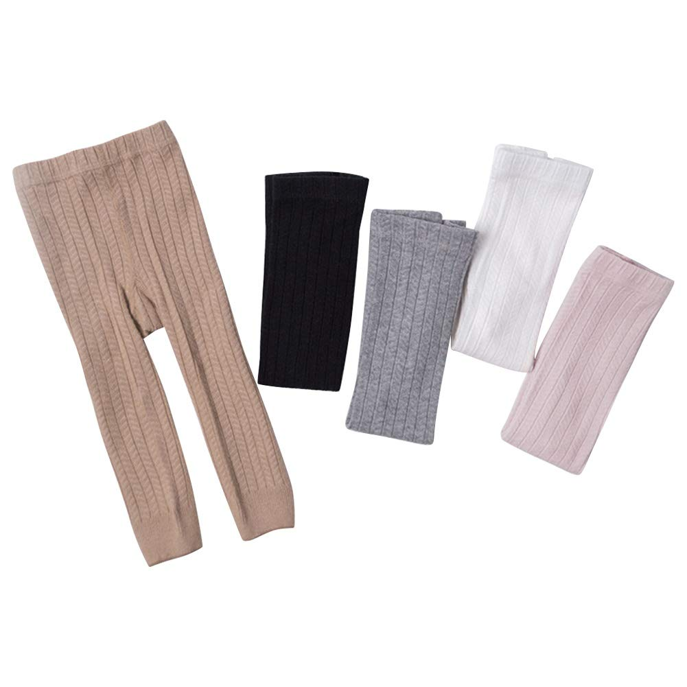 Cable Knit Tights Kids Girls Cotton Solid Footless Legging Pants Stockings 5 Pairs Pack