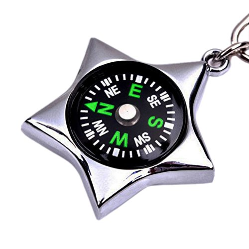 Adornment keychain Silver Five-pointed star compass for travel and package,is made from metal alloy which the material gives a protective shield to the incorporated compass against damage
