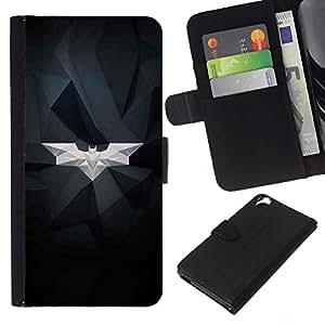 KLONGSHOP // Tirón de la caja Cartera de cuero con ranuras para tarjetas - Estructura Bat blanca geométrica Arte Moderno - HTC Desire 820 //