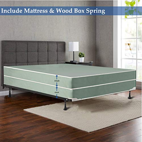 Mattress Comfort, 8-Inch Firm Double Sided Tight top Innerspring Mattress and 8-inch Wood Traditional Box Spring/Foundation Set, Good for The Back, No Assembly Required, Twin Size