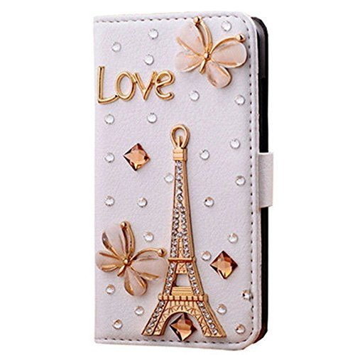 - Berry Accessory(TM) Luxury 3D Bling Crystal Rhinestone Wallet Leather Purse Flip Card Pouch Stand Cover Case for Samsung Galaxy S7 Edge + Berry logo stand holder (love butterfly eiffel tower)