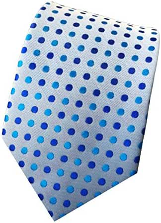 MENDENG Classic Pink Blue Polka Dot Ties Jacquard Woven Silk Men's Tie Necktie