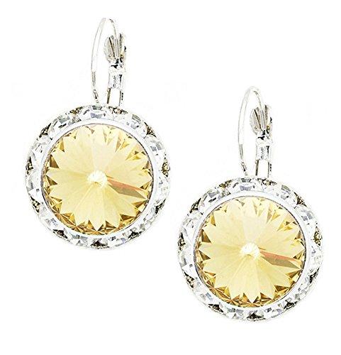 "Golden Brown Earring (Golden Honey-Color Round Rhinestone Dangle Drop Earrings, Clear Rhinestone Border 1"" Long, 5/8"" Diameter)"
