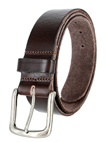 Full Grain Classic Oil-tanned Genuine Leather Casual Jean Belt (Brown, 34)