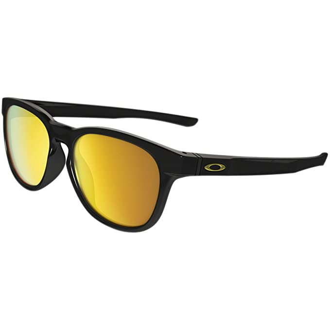 Oakley Men's Stringer Non-Polarized Iridium Rectangular Sunglasses, POLISHED BLACK, 55 mm
