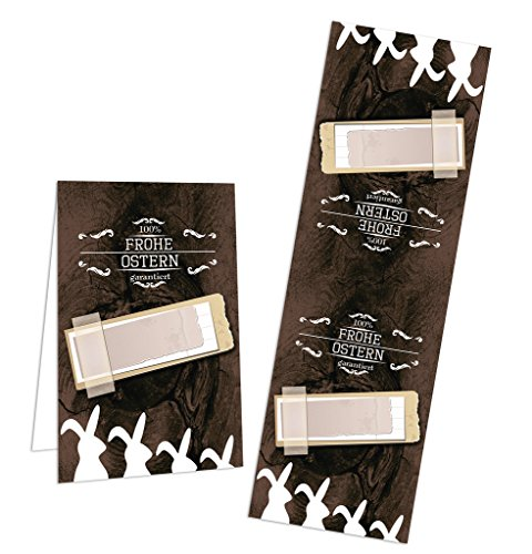 10 Stück vintage Banderolen Ostern Etiketten zum Aufkleben; Klebende Osterhasen in schwarz weiß braun für Ostergeschenke - Klebe-Etiketten zum Geschenktüten zukleben & Co.