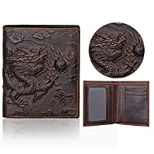 Pershoo Bifold Wallet, Men Genuine Leather Vertical Wallet Minimalist Billfold, 3D Dragon Design Multi Card Organizer Coin Pocket Ultra Slim Folding Checkbook + [Exquisite Gift Bag]