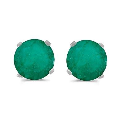 048bb9417c23b 14k White Gold Round Emerald Stud Earrings
