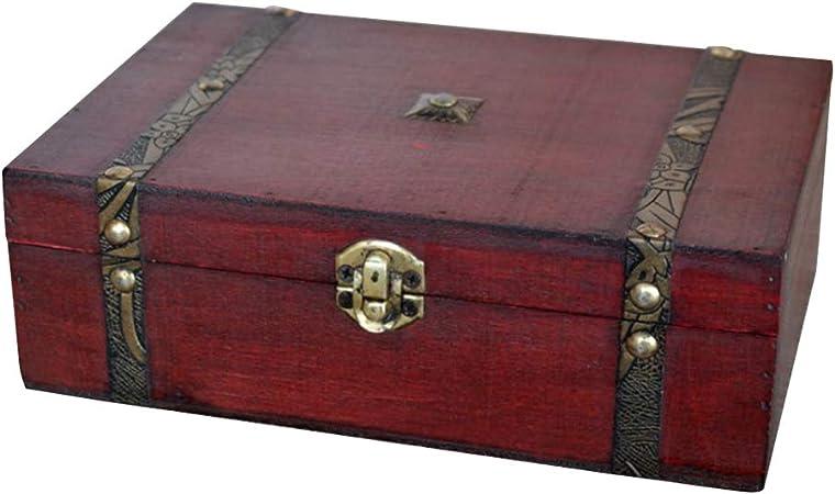 DIU 1pc Caja de joyería Vintage Caja de Regalo de Madera Retro Caja de Tesoro de Madera Caja de joyería de Madera sin Cerradura: Amazon.es: Hogar