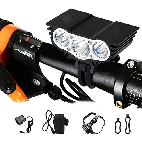 Rechargeable 9000lm 3X XM-L T6 LED Front Bicycle Light Bike Headlamp Headlight Waterproof Cycling Camping Fishing Hiking Lamp+8800mAh Battery + US Charger