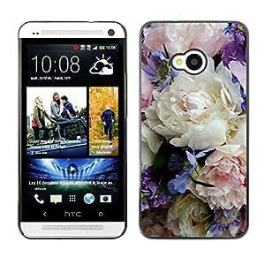 For HTC One M7 Case , Colorful Delicate Flowers Bouquet - Diseño Patrón Teléfono Caso Cubierta Case Bumper Duro Protección Case Cover Funda