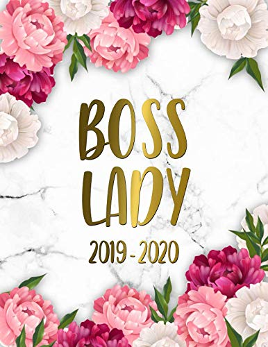 Boss Lady 2019-2020: Marble & Gold Academic Planner | Weekly & Monthly Student Organizer, Calendar & Agenda with Inspirational Quotes, Notes, To-Do's, … Boards and More | Pretty Peonies Floral Print
