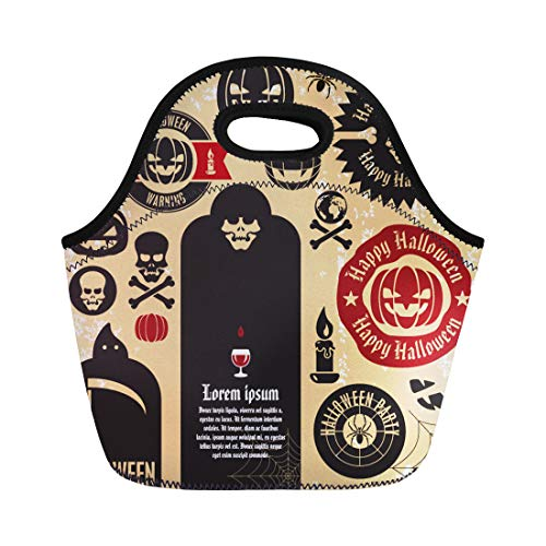 (Semtomn Lunch Tote Bag Vintage Halloween Party Labels and Collection Pumpkin Death Skeleton Reusable Neoprene Insulated Thermal Outdoor Picnic Lunchbox for Men Women )