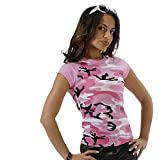 8039 Women's Pink Camo Short Sleeve Raglan T-Shirt (2X-LARGE)