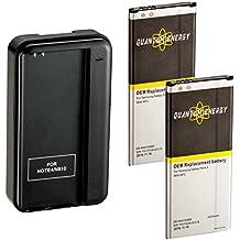 2x Baterías QUANTUM ENERGY para Samsung Galaxy Note 4, 3,220 mAh Baterías Li-Ion + Cargador de Pared con Puerto USB para Galaxy Note 4 N910, N910U LTE, N910A, N910V, N910P, N910T, 2 AÑOS DE GARANTÍA