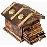 Happie Shopping Wooden & Brass Antique Hut Shape Coaster Set Home Decor Gift Item