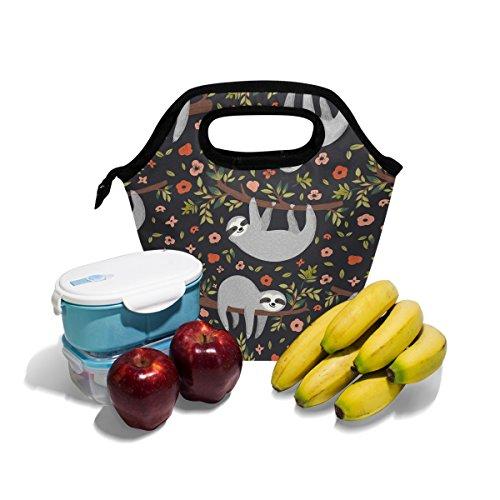 Bolso de almuerzo con estampado floral, con aislamiento, con cremallera, para hombres, mujeres, adultos, niños, niñas