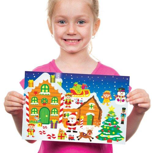 Confezione da 4 Baker Ross Kit Rappresentazioni con Adesivi a Tema Laboratorio di Babbo Natale Perfetti per Creazioni Fai da Te Decorazioni e Lavoretti Artistici Natalizi di Bambini e Bambine