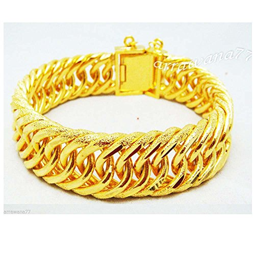 22k Yellow Gold Bangles (Classic 22k 23k 24k Thai Baht Yellow Gold Plated Bracelet 8 Inch 55 Grams)